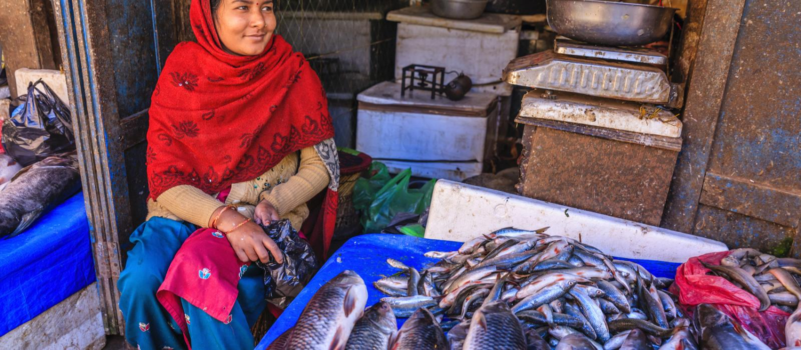 woman in fish market