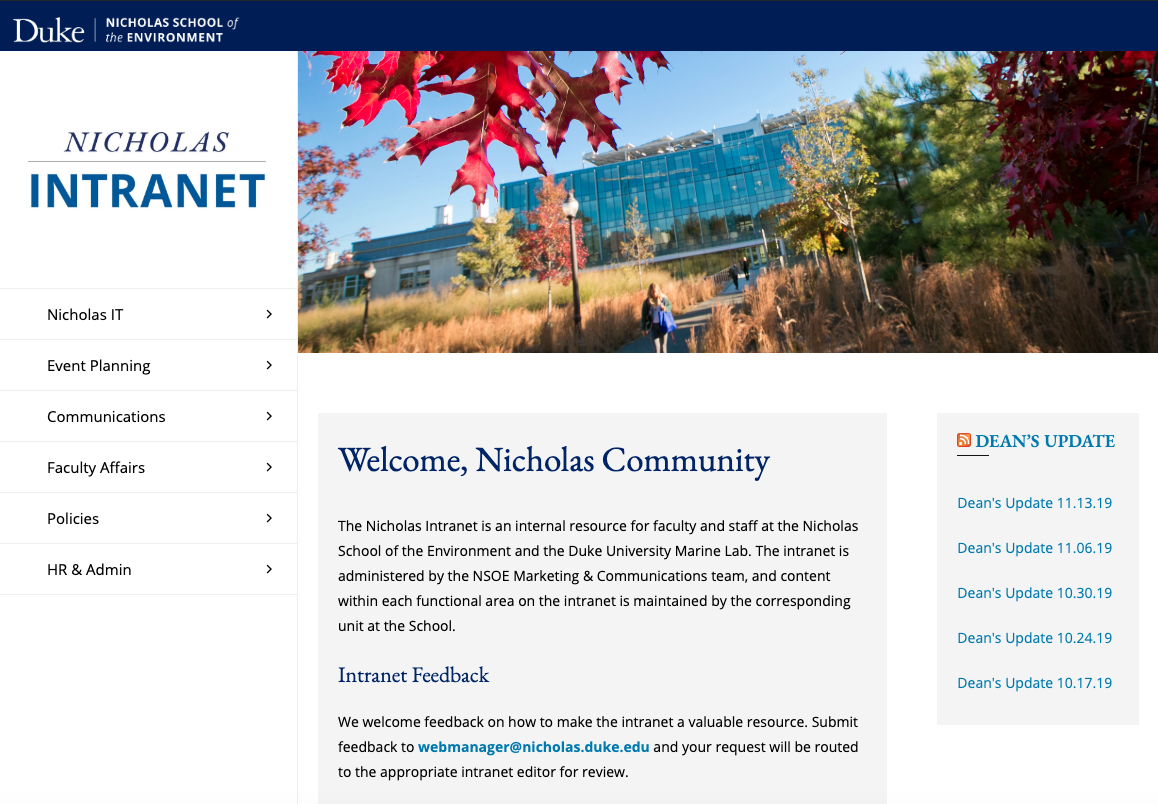 screenshot of Nicholas Intranet home page