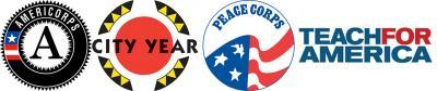 Combo logo for AmeriCorps-Peace Corps-City Year-Teach for America