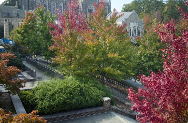 Duke Chapel with fall foliage