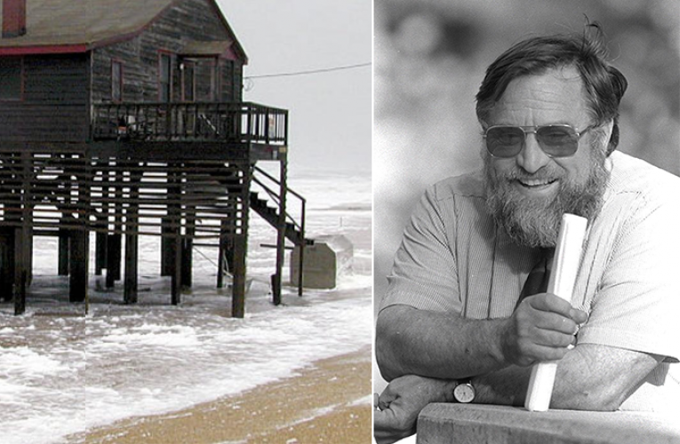 Beach house on NC Outer Banks with headshot of Orrin Pilkey (Courtesy: FEMA and Duke University)