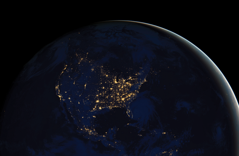 Earth at night satellite image 1600x750