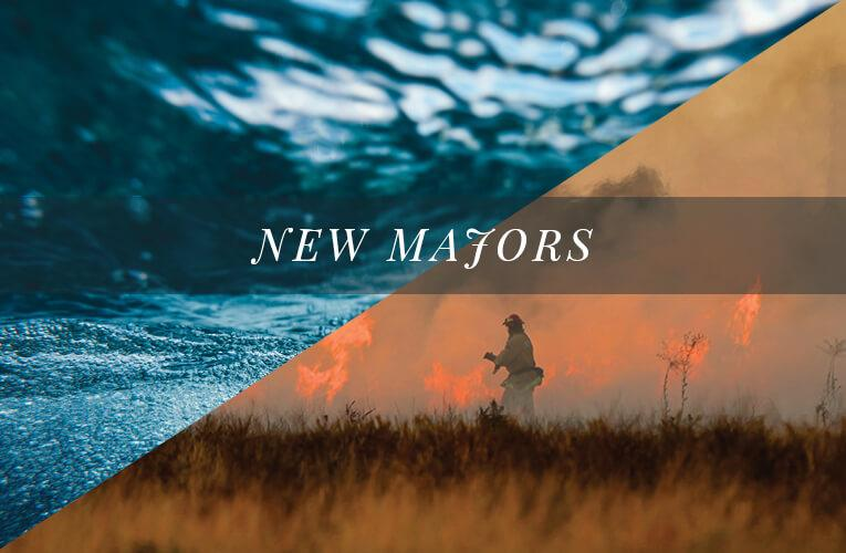 'New Majors' text over photos of ocean and wildfire