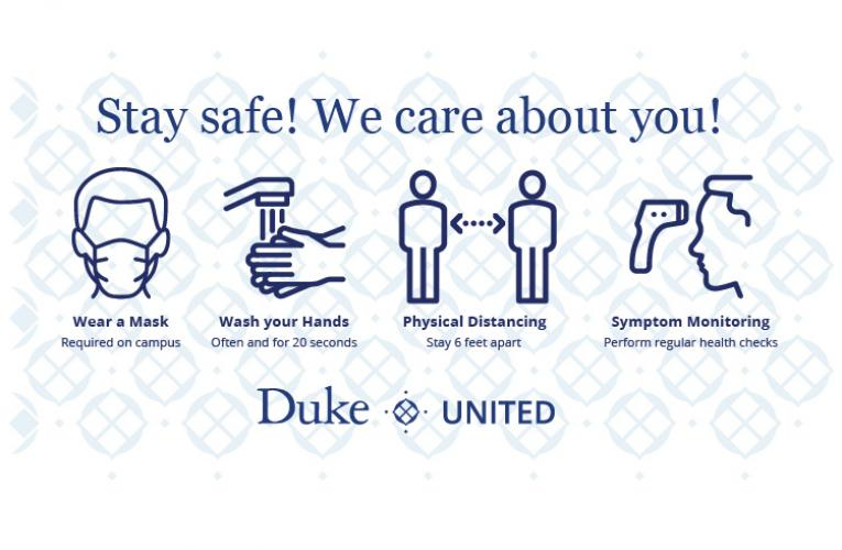 Duke United - 4 icons - Stay Safe - We care about you