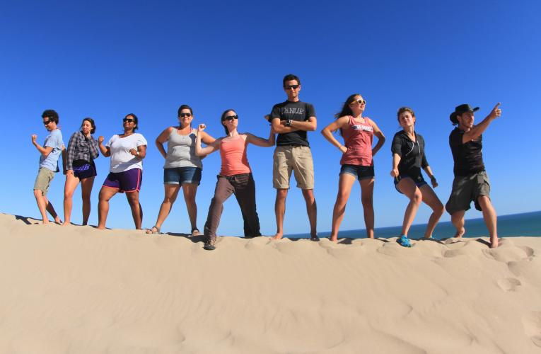 Group of students on sand mound