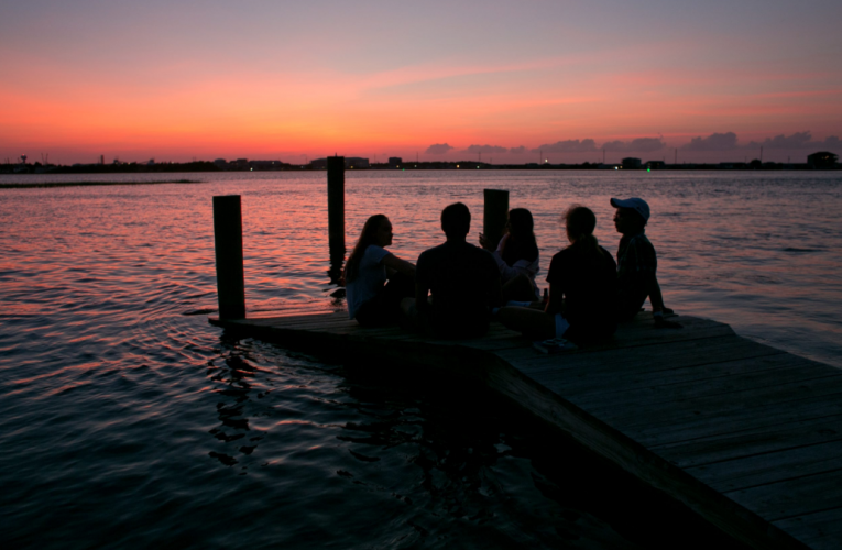 students on dock