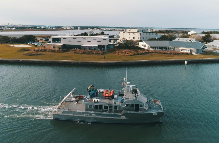 RV Shearwater in front of DUML campus