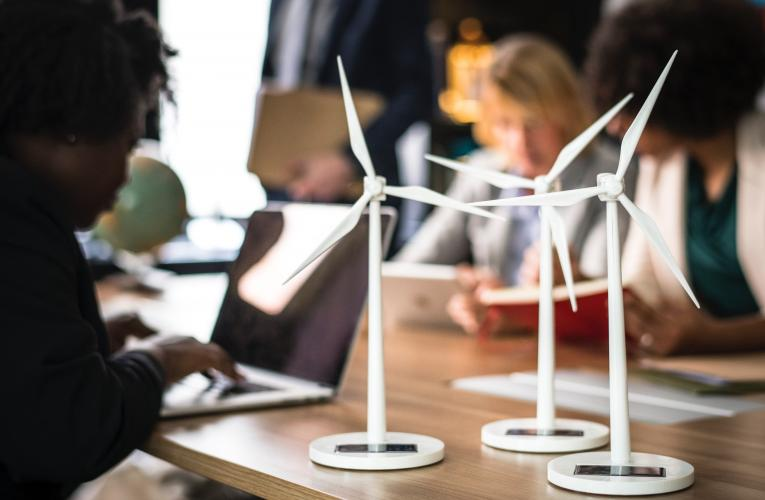 Business & Environment windmills laptops coffee table