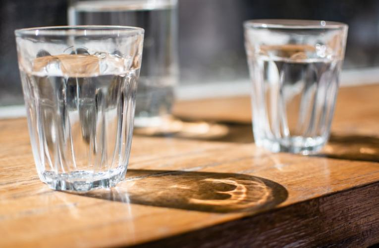 glasses of drinking water on table