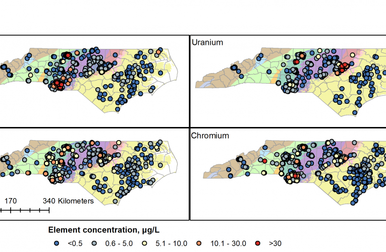 NC map of naturally occurring concentration of four environmental contaminants