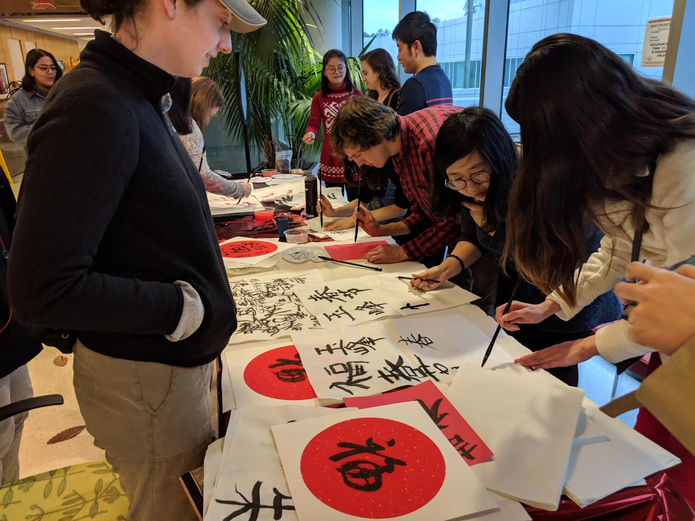 calligraphy activity at lunar new year festival 2019
