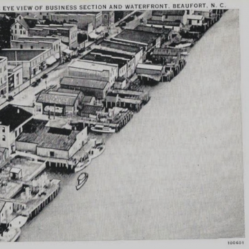 Aerial Image of Beaufort's Business Section and Waterfront 1924 - Beaufort, NC